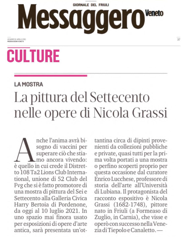 Press: i quotidiani locali sulla mostra di Nicola Grassi